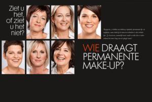 Dit is een beeld met verschillende vrouwen die lachen over permanente make-up of je het wel of niet ziet, Janny Hanegraaf - Permanent Mooi
