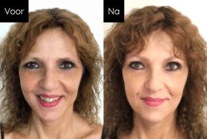 Dit is beeld van Iris voor en na behandeling permanente make-up wenkbrauwen - Janny Hanegraaf heeft dit gemaakt