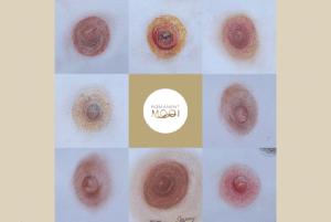Dit is een afbeelding van een collage tekeningen op papier, gemaakt door Janny Hanegraaf, eigenaar Permanent Mooi, tepels