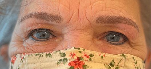 Dit is een afbeelding van na een behandeling van ogen, de wenkbrauwen hebben nu permanente make-up, door Permanent Mooi