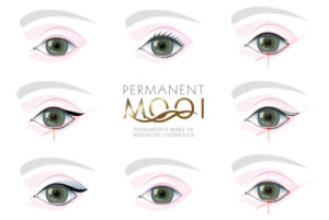Dit is een aantal ogen getekend met weergave van symmetrie lijnen en soorten eyeliners met logo Permanent Mooi